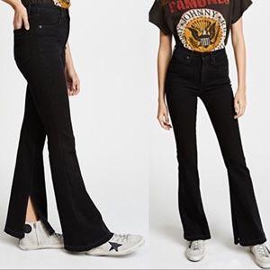 NWT Rag & bone Bella side slit black cropped jean